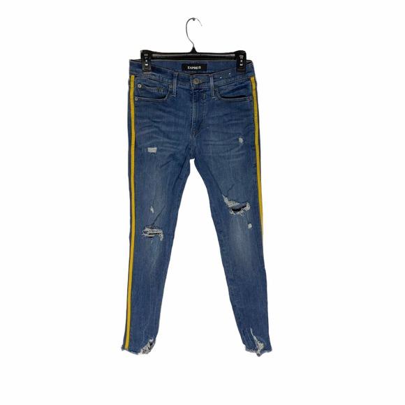 Express Distressed Denim Stripe Jeans
